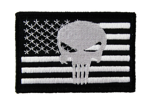 Skull American Flag Overlay Tactical Funny Velcro Fully Embroidered Morale Tags Patch
