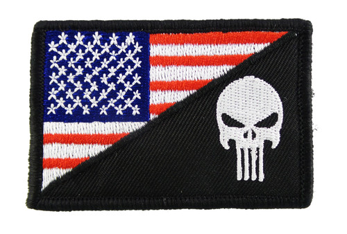Punisher American Flag Diagonal Tactical Funny Velcro Fully Embroidered Morale Tags Patch