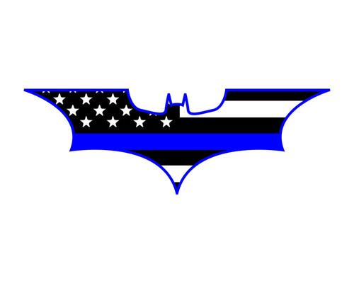 "Thin Blue Line Flag Batman Window Decal 2x5.7"" Vinyl Sticker"