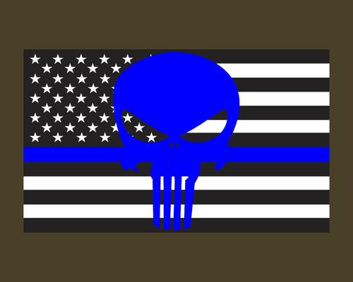 Thin Blue Line Skull American Flag Police Flag 3x5 Vinyl Decal Sticker for Cars Trucks Laptops etc...