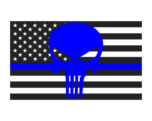 Thin Blue Line Skull American Flag Police Flag 3x5 Vinyl Decal Sticker for Cars Trucks Laptops etc...