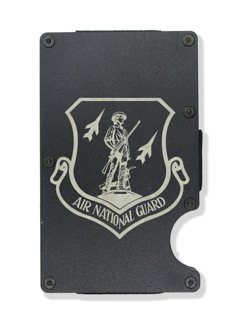 Air National Guard Wallet Custom Engraved RFID Blocking Thin Card Organizer w/ Money Clip