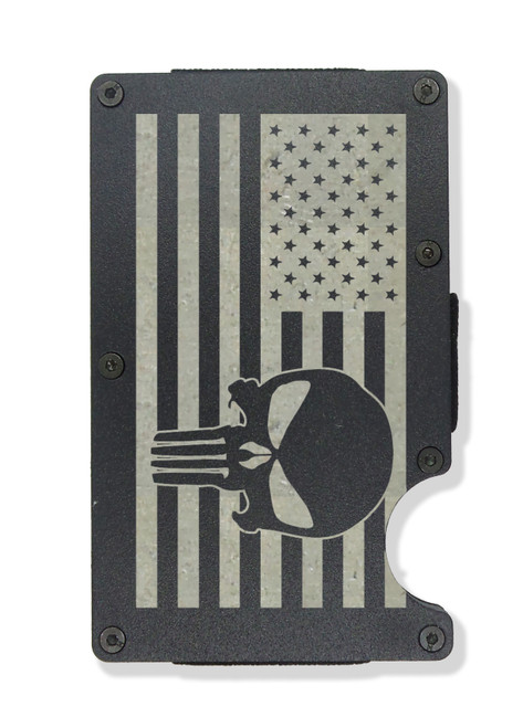 American Flag with Skull Wallet Custom Engraved RFID Blocking Thin Card Organizer w/ Money Clip