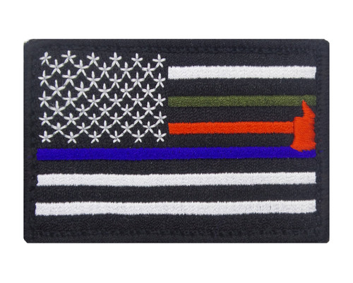 Thin Blue Red and Green Line Hook and Loop Responder Flag Patch Morale Tags Fully Embroidered