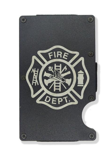 Maltese Cross Firefighter Wallet Custom Engraved RFID Blocking Thin Card Organizer w/ Money Clip