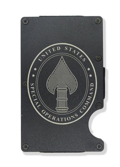 U.S. Special Operations Command ( SOCOM ) Engraved Metal RFID Blocking Tactical Minimalist Wallet w/Money Clip QAnon Q WWG1WGA…