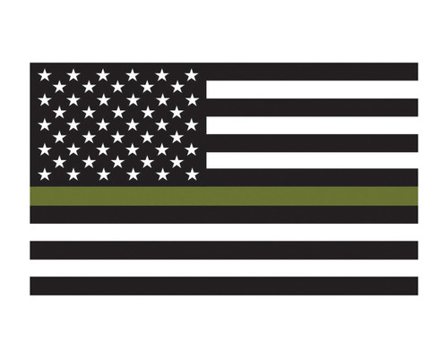 Military Support Flag REVERSE American Flag Thin Green Line Flag Vinyl Decal Sticker 3x5