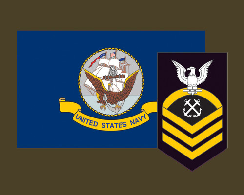 Navy Flag USN with Rank Insignia 3.22x5 Vinyl Decal Sticker for Cars Trucks Laptops etc...