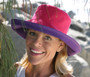 Reversible Ponytail Hat - Pink/Purple Cotton
