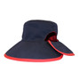 Reversible Ponytail Hat - Berry/Navy Cotton