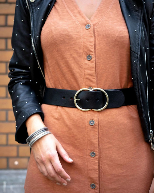 Ginette Double Ring Buckle Wide Belt