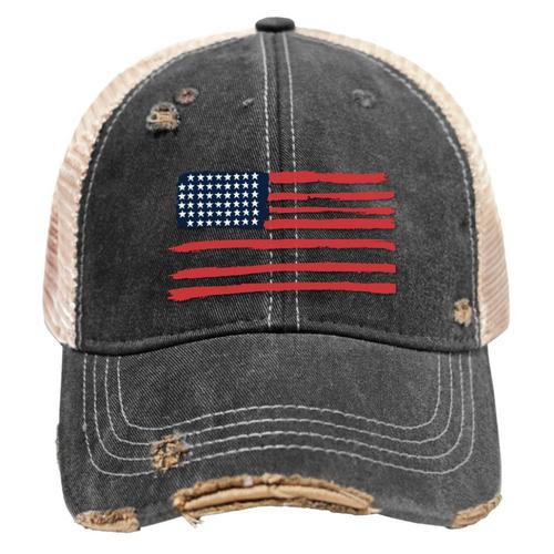 USA Flag Mudwashed Snap Back Trucker Hat