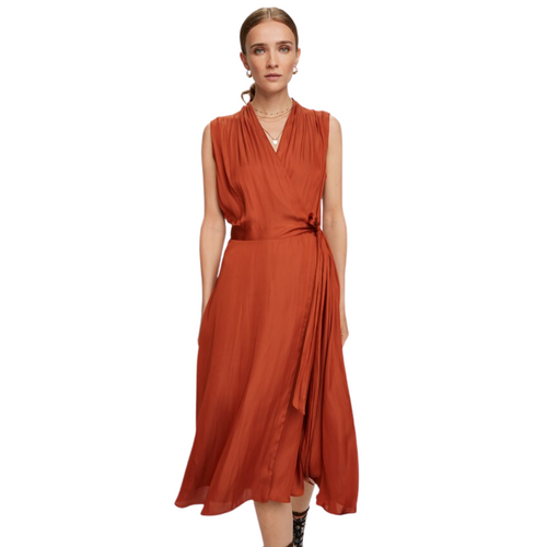 Sleeveless Midi Wrap Dress