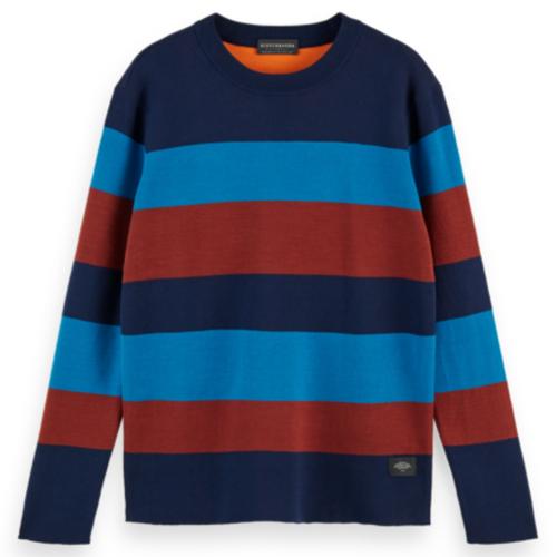 Cotton -Blend Striped Crewneck Pullover