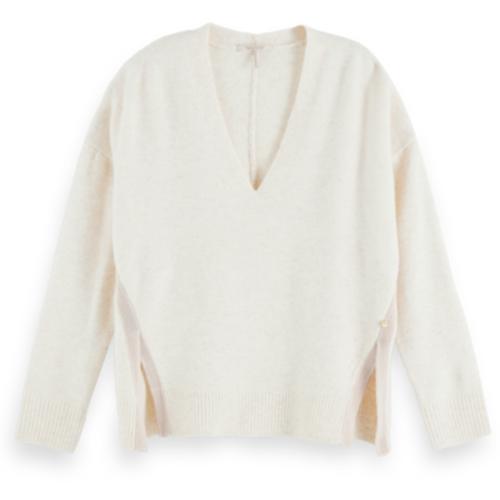 Fuzzy Long Sleeve V-neck Pullover
