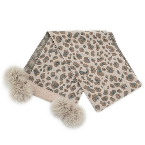 Animal Print Scarf W/Crystals Fox Poms
