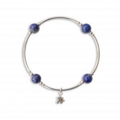 8MM Lapis Blessing Bracelet W/Sterling Puzzle