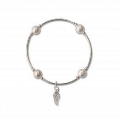 8MM White Pearl Blessing Sterling Wing Charm