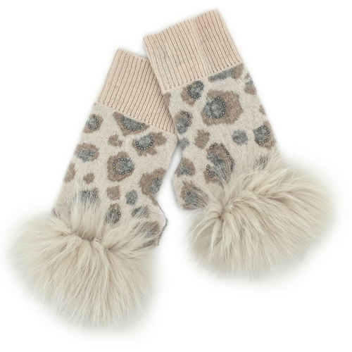 Animal Print Fingerless Gloves W/Crystals Fox Trim