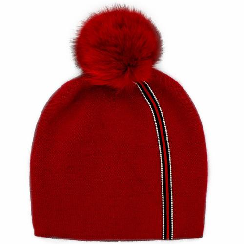 Stripe Hat W/Fox Pom