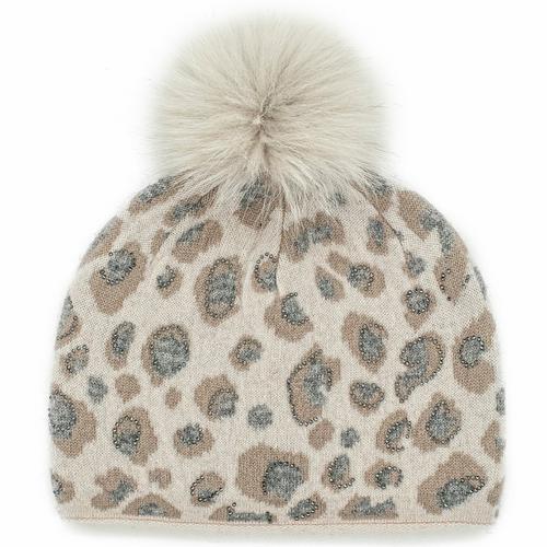 Animal Print Hat W/Crystals Fox Pom