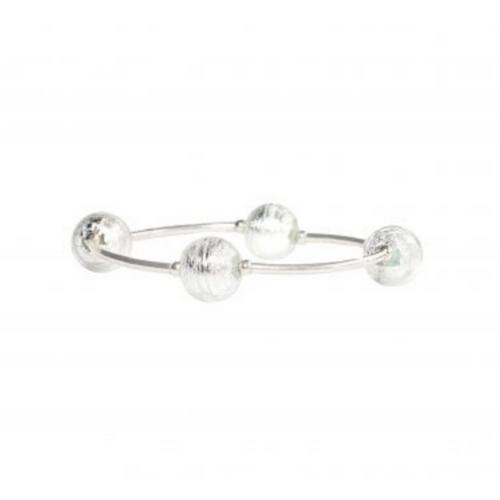 8MM Silver Murano Glass Blessing Bracelet
