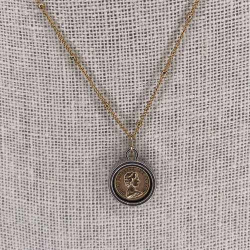 14k Gold Filled Chain Reversible QEII Coin Replica