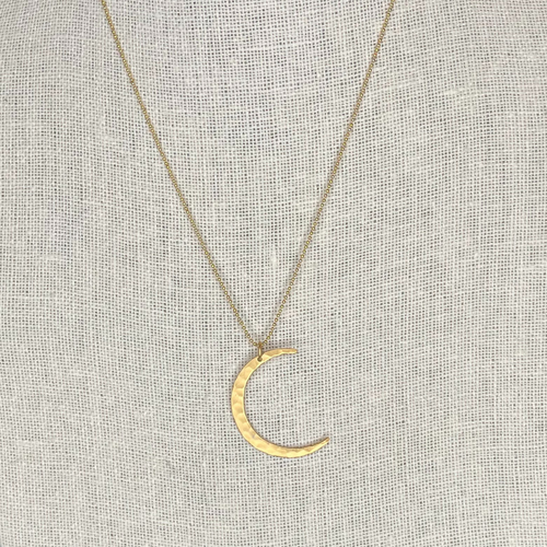 Satin Finish 24k Gold Vermeil Hammered Crescent 14k Gold Filled