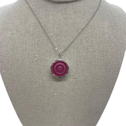 Coco Chanel Necklace Silver Pink Silver CC