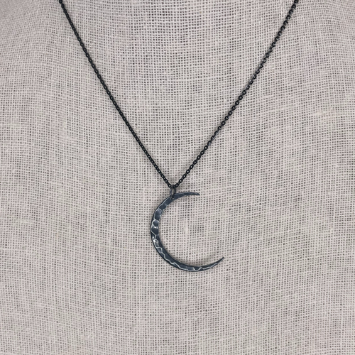 Hammered Crescent Blackened + White Sterling Silver