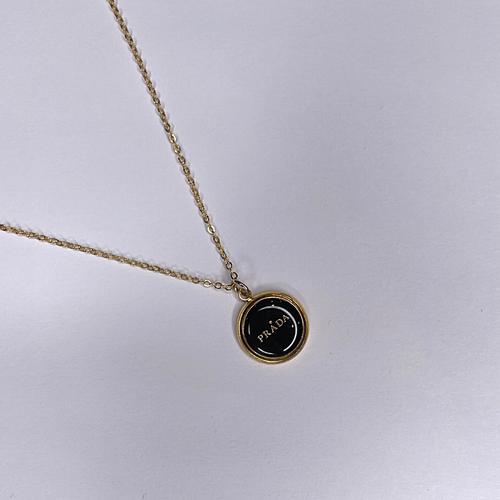 Prada Gold Necklace Flat Black Gold PRADA