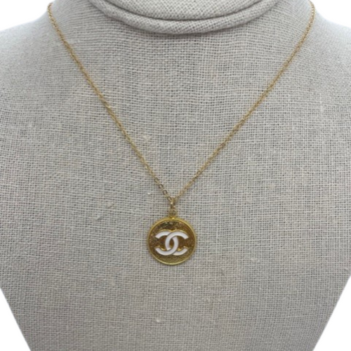 Coco Chanel Necklace Flat Gold White CC