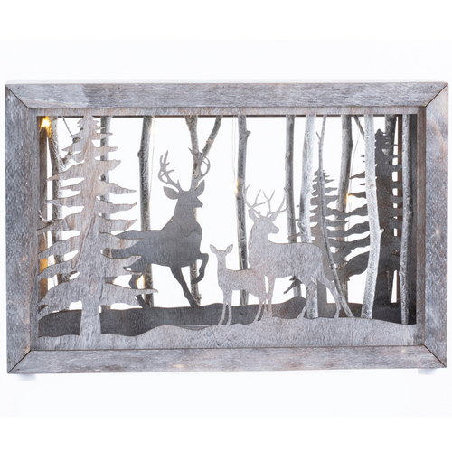 Deer Family In Lighted Box