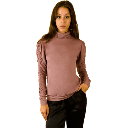 Monroe Shirred Sleeve Turtle Neck