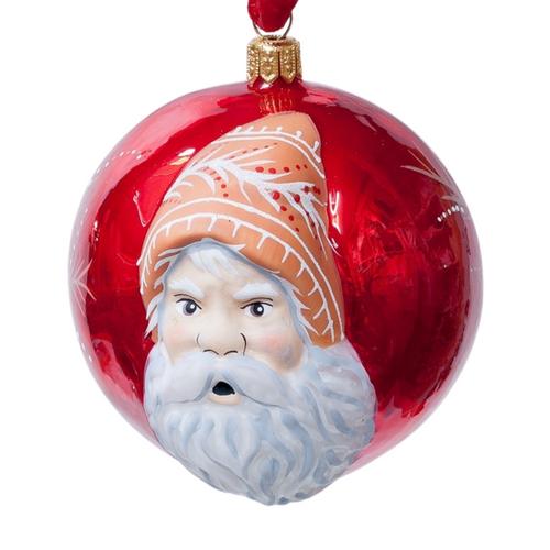 Jingle Balls™ Santa's Portrait on Pearlized Red