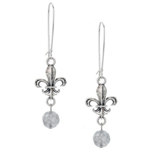 Sterling Silver  Drop Earrings with Fleur Connectors and Cloudy Quartz