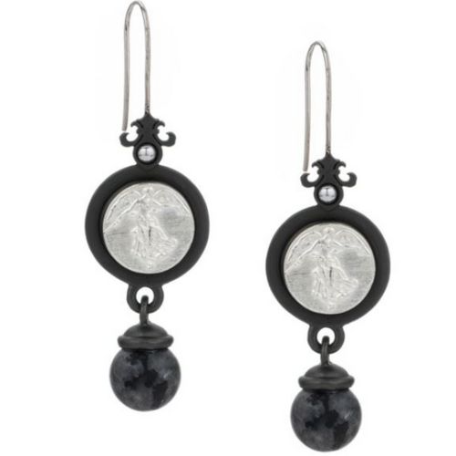 Black Prefere Earrings with L'Ange Medallion and Black Labradorite Dangle
