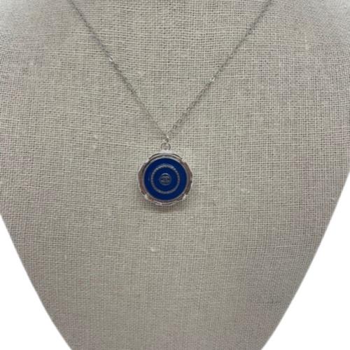 Coco Chanel Necklace Silver Navy Silver CC