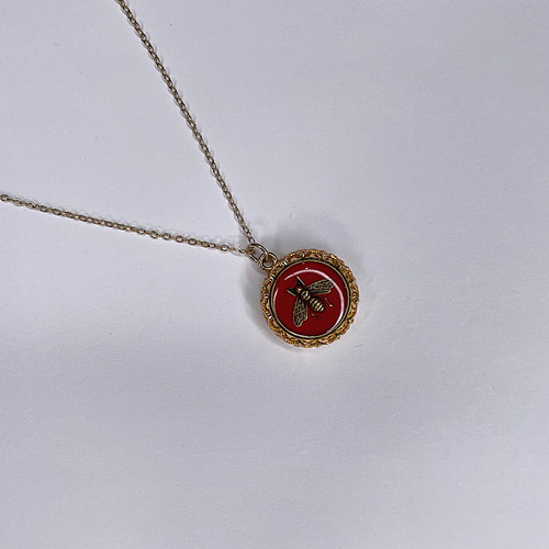 Gucci Gold Necklace Red Gold Bee