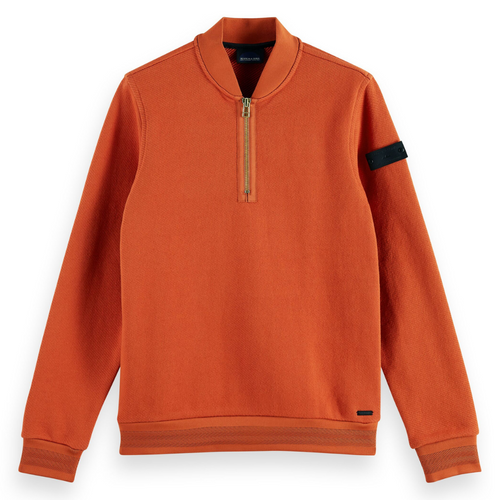 Half-Zip Structure Felpa Sweat With Bomber Collar