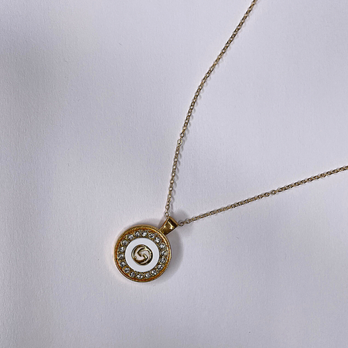 Gucci Gold Necklace Flat White Gold GUCCI Embellished