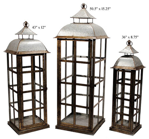 "Galv Lanterns 50"" Set of 3"