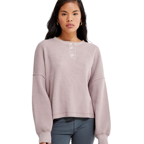 Organic Cotton Henley Waffle Pullover