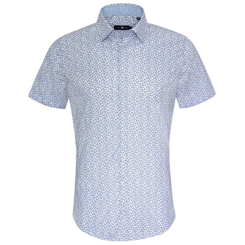 Martini Print Natural Woven Short Sleeve Shirt