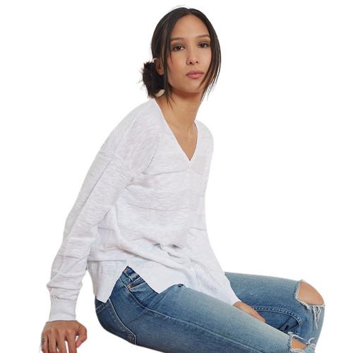 Textured Stripe V-Sweater