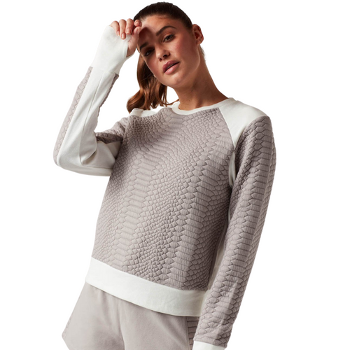 Croco Knit Cropped Sweatshirt