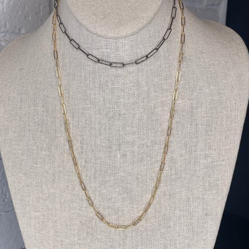 14k Gold Filled + Blackened  Diamond Cut Sterling Petite Oblong Link