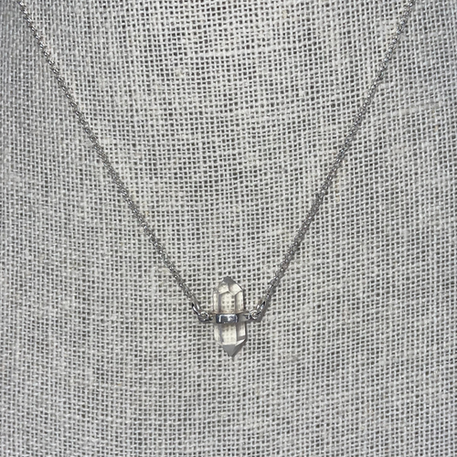 Sterling Silver Clear Quartz Double Point Necklace