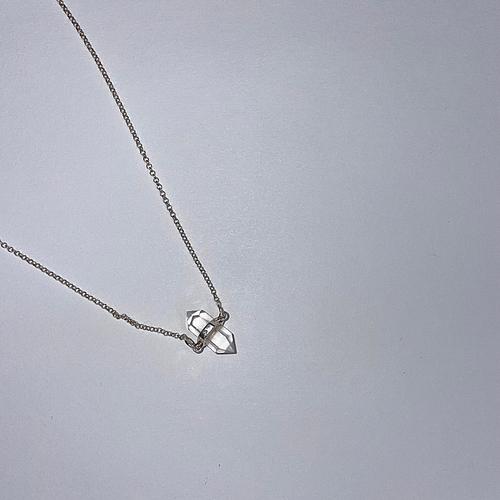 Sterling Silver Clear Quartz Double Point Necklace