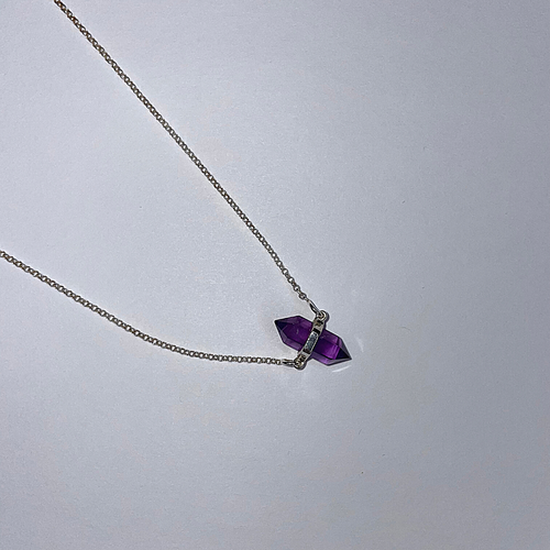 Sterling Silver Amethyst Double Point Necklace